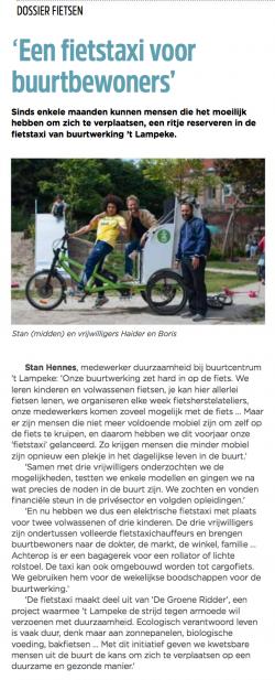 een fietstaxi voor buurtbewoners